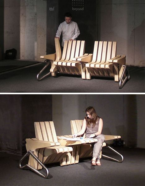 Banc en bois modulable par Karolina Tylka