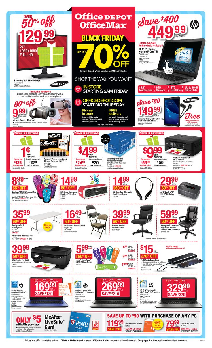 Color printing office depot - Office Depot Officemax Black Friday 2016 Ad Page 1