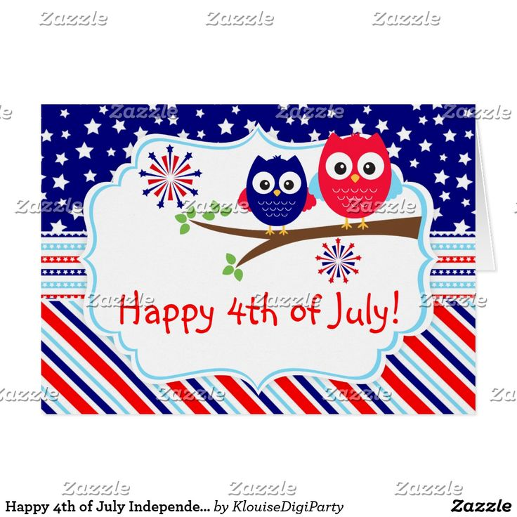 Happy 4th of July Independence Day Owls Card