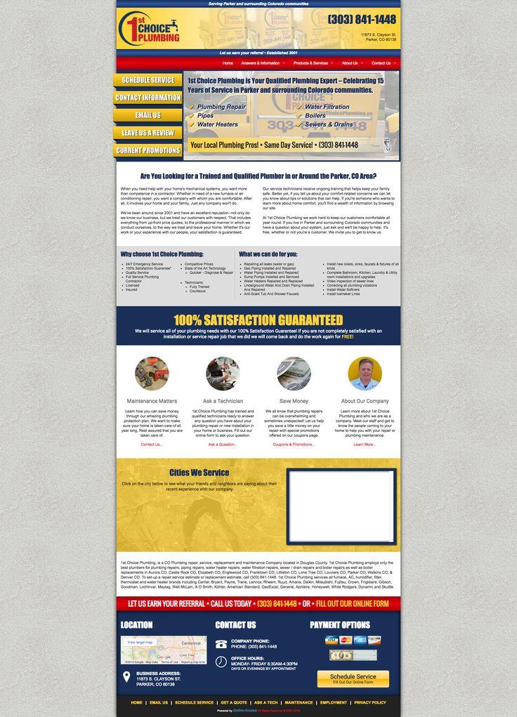 1st Choice Plumbing Parker, CO plumbing website custom