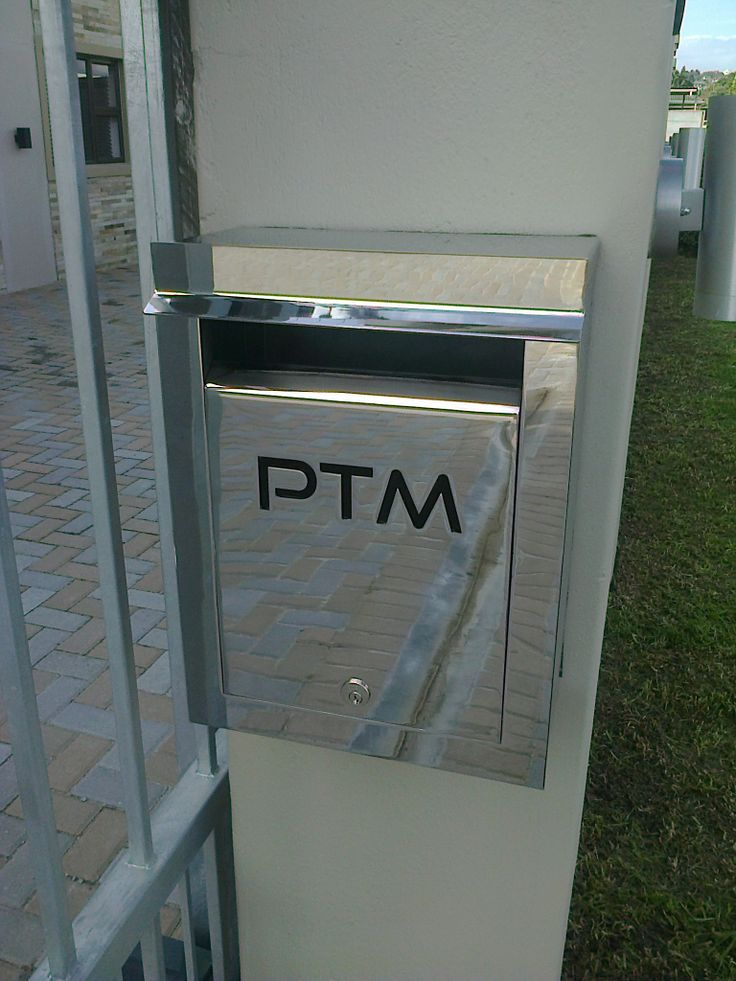 External Portrait Stainless Steel Letterbox with cut-out text and backed with black perspex. Grade 304 stainless steel with a Mirror Polished finish.