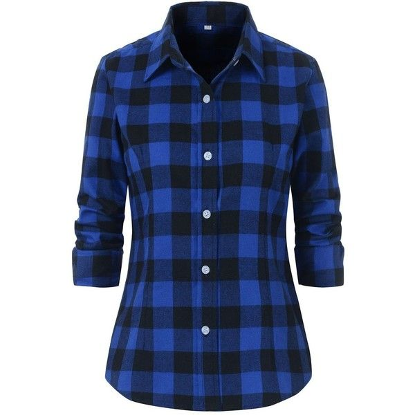Benibos Women's Check Flannel Plaid Shirt ❤ liked on Polyvore featuring tops, blue checked shirt, checkered flannel shirts, tartan shirt, flannel top and plaid shirts