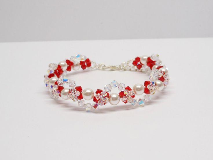 Swarovski+White+Pearl+Bracelet,+Woven+Bracelet,+Swarovski+Crystal+Bracelet,+Weaving+Bracelet