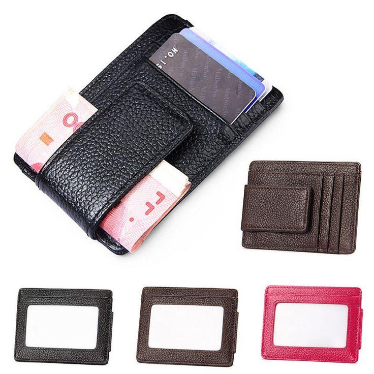 Mens Leather Money Clip Slim Front Pocket Wallet Magnetic ID Credit Card Holder #Unbranded #IDWallet