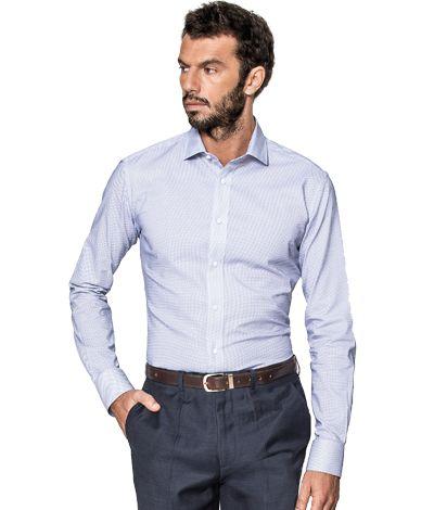 Blue micropattern 100% cotton Shirt http://www.tailor4less.com/en-us/men/shirts/2383-blue-micropattern-100-cotton-shirt