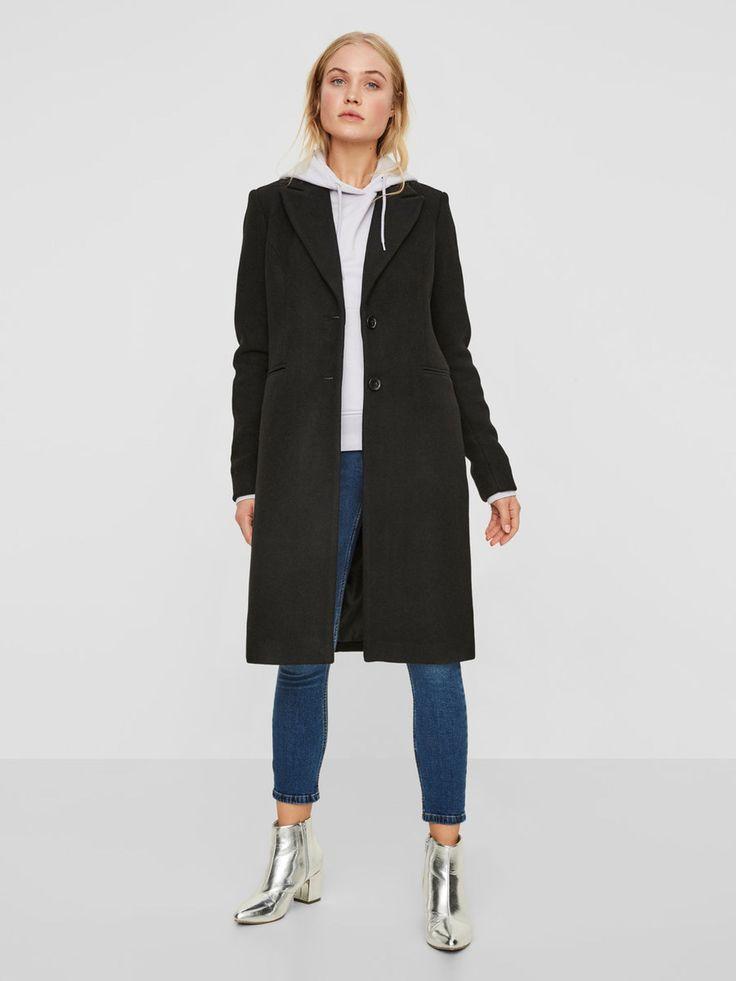 Pitkä villakankainen takki | VERO MODA