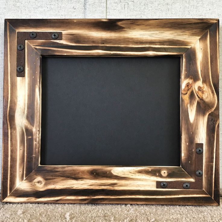 Knotty Pine Picture Frame Natural Charcoal finish  Rusted Metal hardware