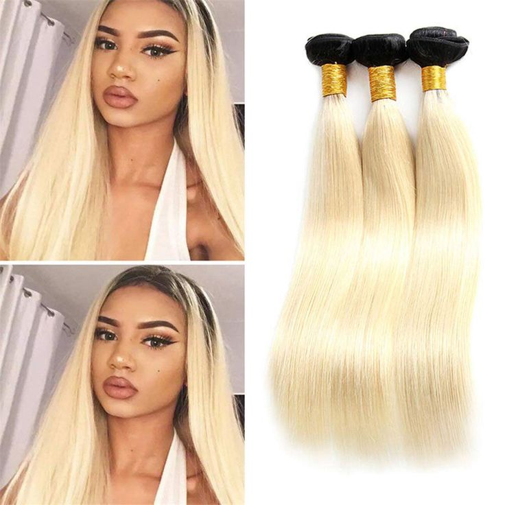 Ombre Blonde Color 1b/613 Brazilian Remy Human Hair
