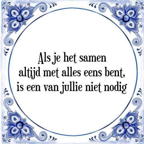 Delfts blauwe tegeltjes: Als je het samen altijd met alles eens bent, is een van jullie niet nodig - Bekijk of bestel deze Tegel nu op Tegelspreuken.nl
