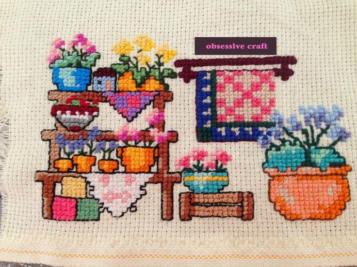 Obsessive Craft: Cross stitch work for kitchen wall - Mutfak duvarı için kanaviçe çalışması