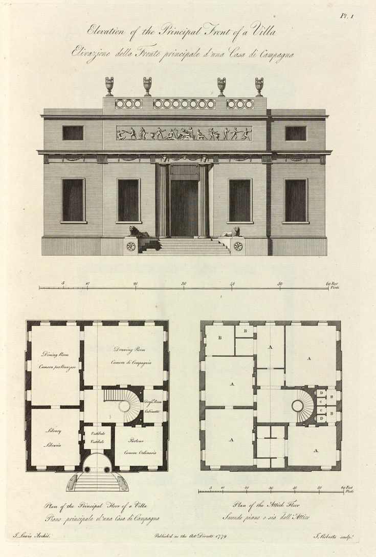 174 best floor plans images on pinterest architecture elevation and plans of a villa 1779