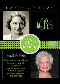 2 Photo Birthday Invitation  Adult Birthday by AnnounceItFavors