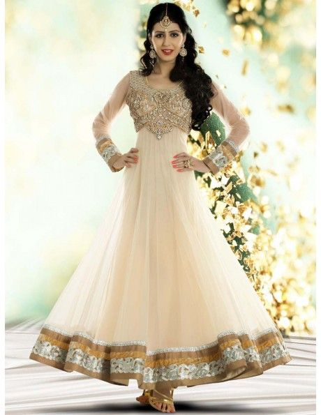 Buy Admirable Cream Anarkali Suit Online. http://www.bharatplaza.com/womens-wear/readymade-suits/bollywood-salwars/admirable-cream-anarkali-suit-slrv114.html