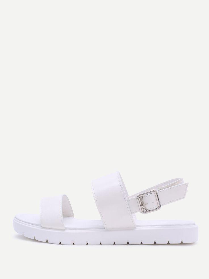 Shop White Strap Pu Flat Sandals online. SheIn offers White Strap Pu Flat Sandals & more to fit your fashionable needs.