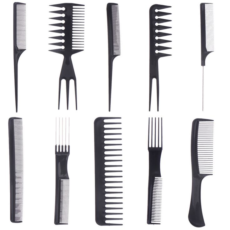 1 Set of 10pcs Comb Barbers Hair Styling Tools Make Up Professional Hair Combs Anti-static Hairbrush Women's Hair Accessories