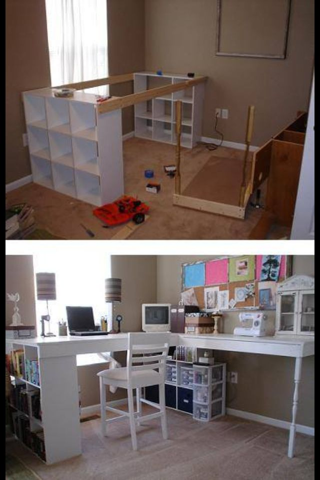 Very cool desk idea ... So much storage