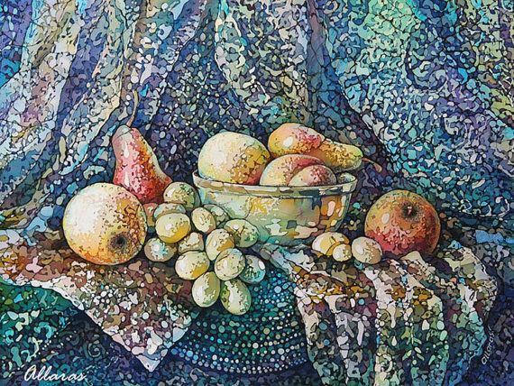 "Still Life Painting on Silk. Original Painting on Silk Still Life with Fruit. 12"" х 16"" (30 х 40 сm.) Dining Room Art ."