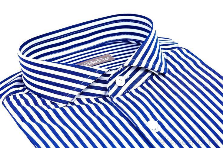 Camicia su Misura Piacemolto® in cotone doppio ritorto Popeline a righe Haute de Gamme all season, tonalità Blu.Collo Cutaway.  www.piacemolto.com