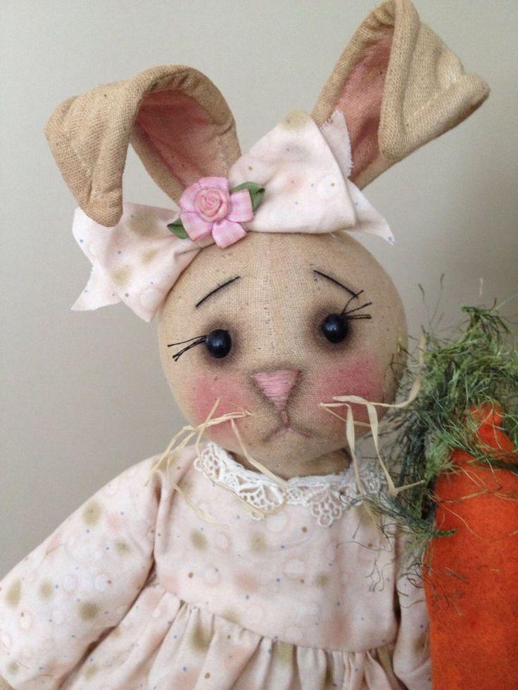 Primitive Folk Art Bunny Rabbit Raggedy Doll #NaivePrimitive