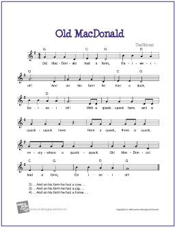 Old MacDonald | Free Sheet Music for Guitar - http://www.makingmusicfun.net/htm/f_printit_free_printable_sheet_music/old_macdonald_leadsheet.htm