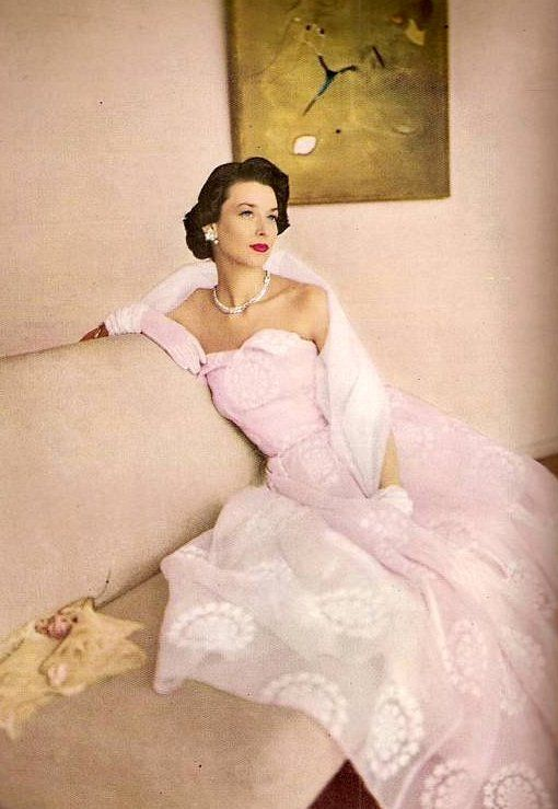 Harper's Bazaar May 1948.. pink pale ball gown evening wear formal dress strapless full skirt sheer chiffon model magazine late 40s shoulder scarf stole wrap