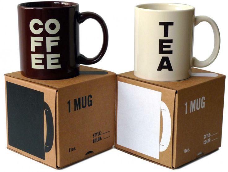 Некоторые утверждают, что кофе ичай недолжны подаваться водной итой же кружке. Одни люди пьют только кофе, адругие только чай. Дизайнер John Caserta разработал концепцию двух видов кружек: белые подчай икоричневые подкофе. Длякружек был создан идизайн коробок соформлением водин цвет: длячайных кружек белая печать, адлякофейных— коричневая.   http://am.antech.ru/TjYl