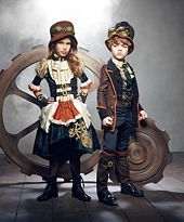 Your uniquely cool look has lots of faux leather and buckle accents. Wear with flair a jacket, vest, pants and belt. A Wishcraft costume by Chasing Fireflies.