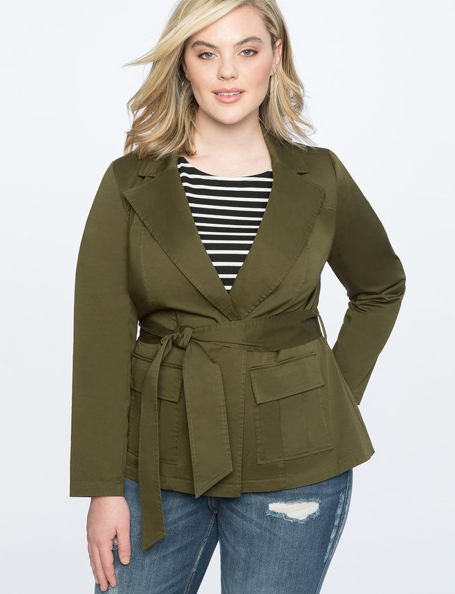 4883065e37bf2 View our Utility Jacket with Belt and shop our selection of designer  women s plus size Coats + Jackets