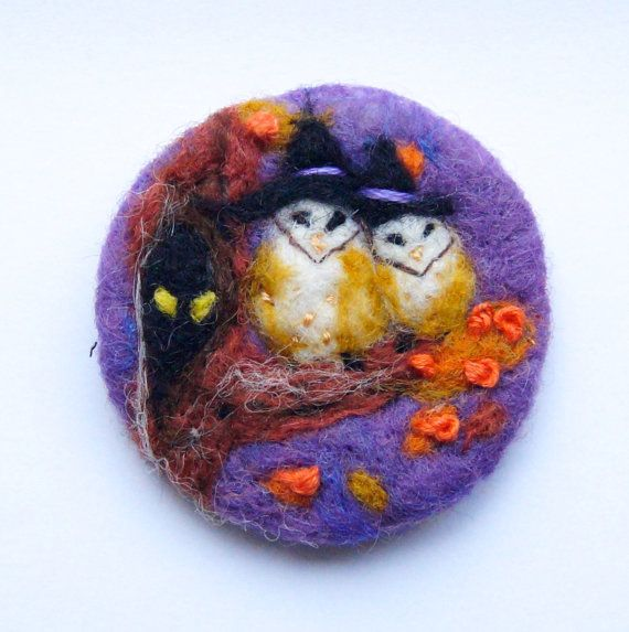 Needle felted brooch 'Halloween Owls' Bird Wool Felt by iwantcraft