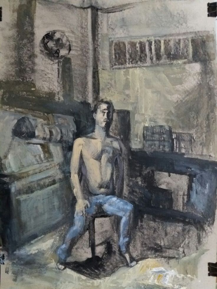 A friend of mine sitting in a shoe fabric,acrylics on paper 50x70