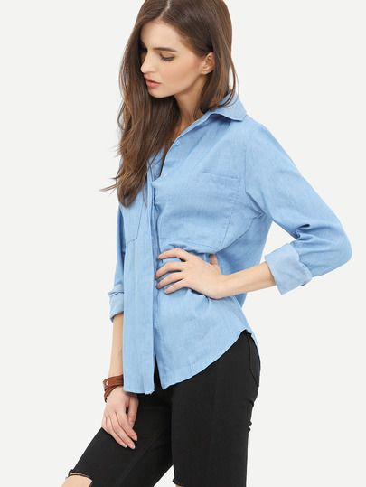 Shop Blue Lapel Long Sleeve Pockets Denim Blouse online. SheIn offers Blue Lapel Long Sleeve Pockets Denim Blouse & more to fit your fashionable needs.