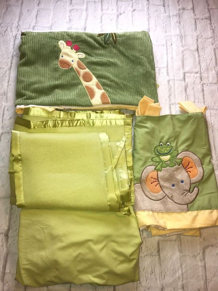 NoJo Safari/Jungle Valance And Crib Dust Ruffle Set, With Green Fitted Crib Sheet And Geen Mesh Breathable Crib Bumper/Liner. Set is in good preowned condition. | eBay!