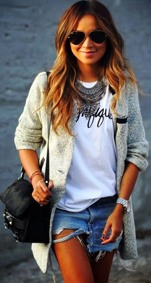 Jeans Skirt With Stylish Blazer and Ray Bans
