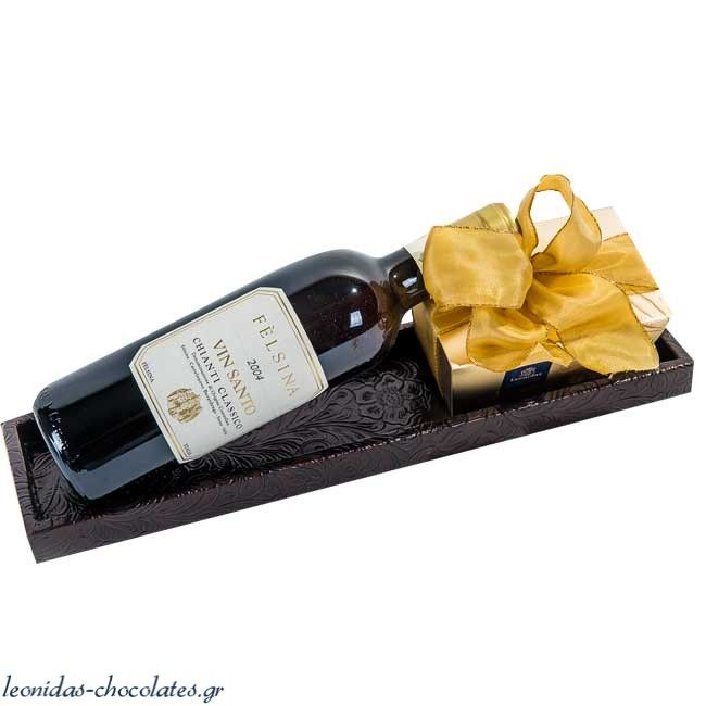 Δερμάτινο δισκάκι με σοκολατάκια και κρασί Felsina Vin Santo 375 ml - Συνθέσεις Με Κρασιά - Συνθέσεις με Κρασιά
