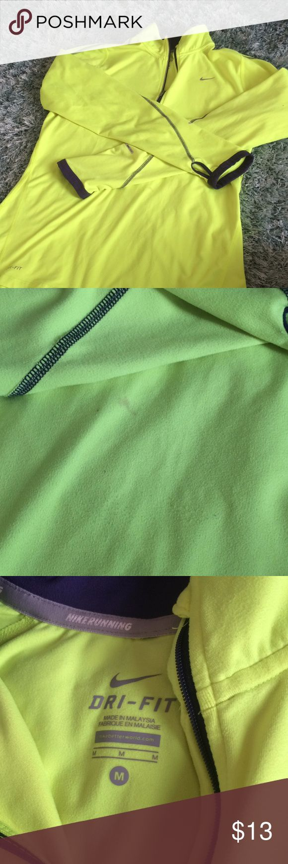 Nike Neon Half-Zip Nike bright yellow half-zip. Perfect for winter running. Small stain in front reflected in price. Nike Tops