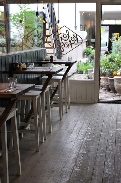 small tables built into long bar area wall instead of small shelf/bar for drinks ? Kolonihagen | Oslo, Norway