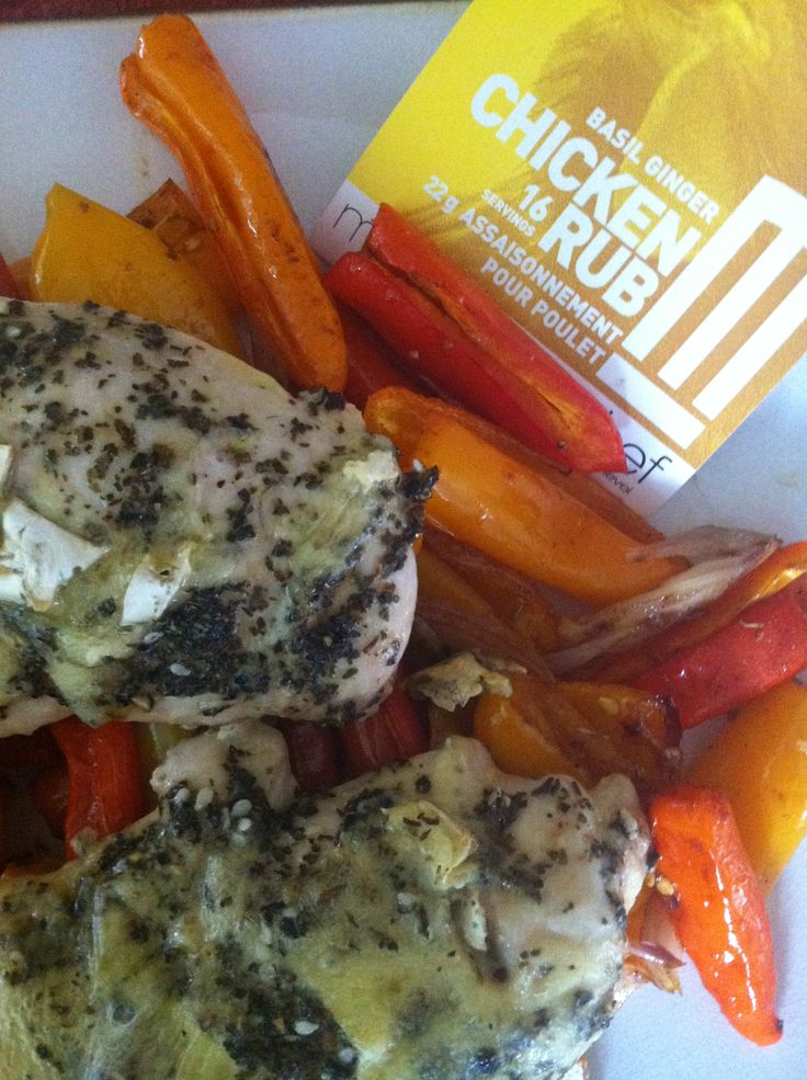 Metropolitan Chef Basil Ginger Chicken Breasts stuffed with Brie cheese. Served on top of sauteed peppers. Fast, delicious and #glutenfree.