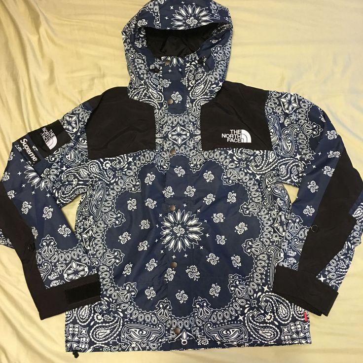 Supreme The North Face Bandana Mountain Parka Sz M Navy Box Logo Nuptse Jacket  #supreme #FlightBomber
