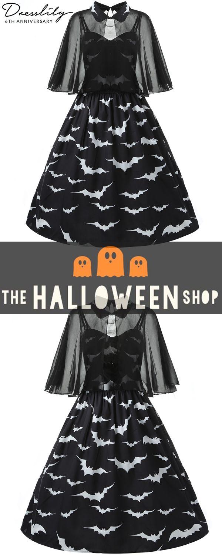 d5b7ea73f14 Buy 1get 15% off.Halloween Plus Size Bat Print Capelet Dress.  dresslily   halloween  dresses