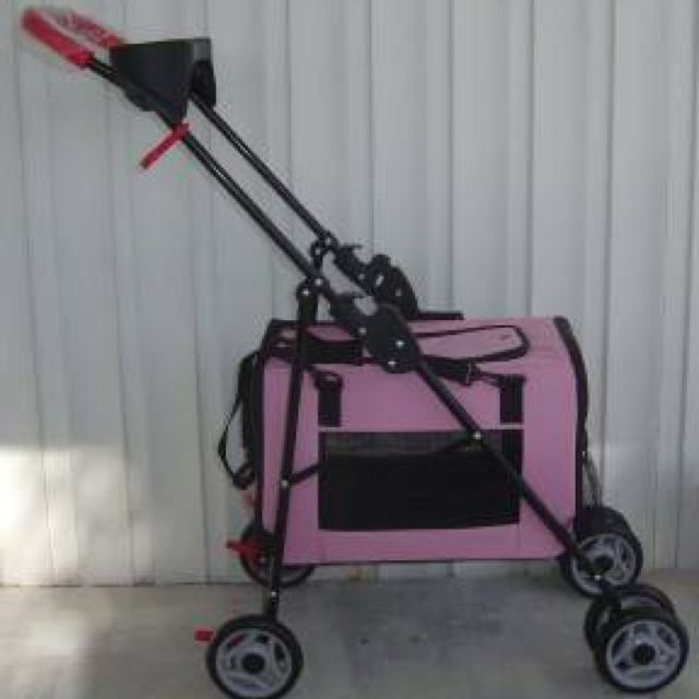 DIY doggie stroller- 1. Carrier from PETCO for $30 2. Cheap baby stroller A)Remove the fabric from the stroller B)place carrier in stroller then snap straps to the stroller