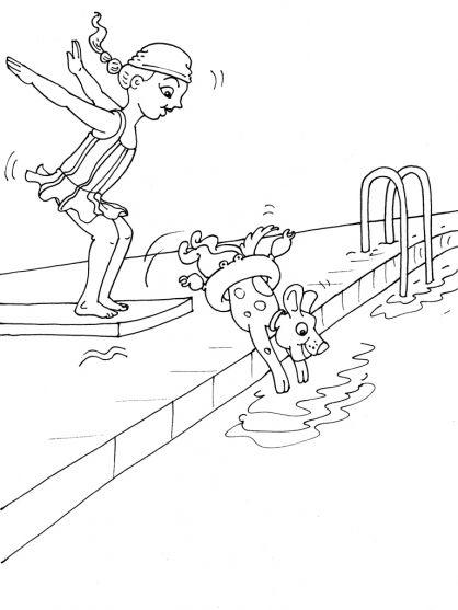 Kleurplaten zwemmen / Natation