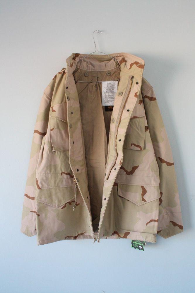 299adb2c9a1 BNWT ALPHA INDUSTRIES M65 Field Jacket Desert Camo Size Large   ALPHAINDUSTRIES  Military