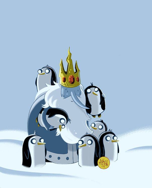 E este o rei do gelo que gosta de raptar princesas e os seua amigos são pinguins