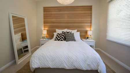 House Rules Master Bedroom Carly And Leighton S House Sa Phase 2 Love This Wooden Feature Wall And Neutral Tones Throughout The Room