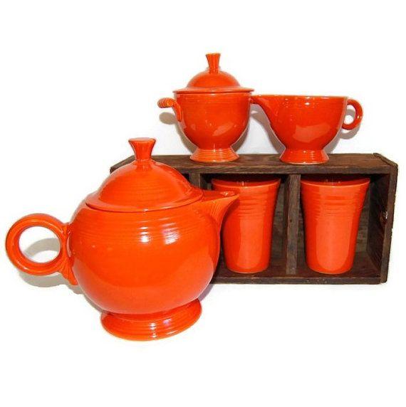 Fiesta Original Red Tea Set Vintage Art Deco Housewares Collectibles Cottage Chic Rustic Tabletop Accessories c1930s