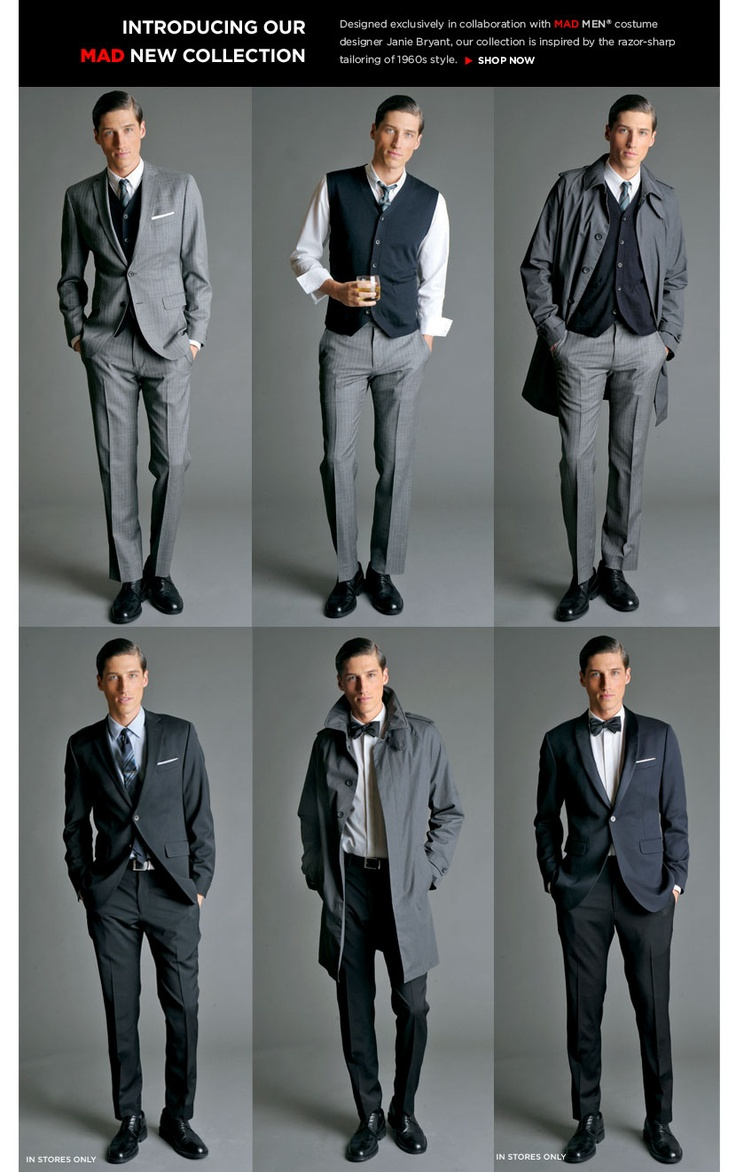 Mad Men Inspired Suiting from Banana Republic. Love the gray pinstripe and tux.