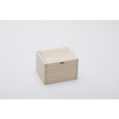 Square Box with Inset Hinged Flip Top Lid - Small Wooden Trinket & Favour Boxes - Plain Wooden Boxes | The Wooden Box Mill
