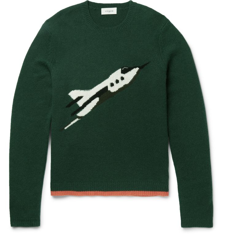 This <a href='http://www.mrporter.com/mens/Designers/Coach'>Coach</a> sweater is spun from remarkably soft cashmere, delivering incomparable warmth and comfort. It's skilfully knitted with a rocket intarsia based on a vintage drawing of the Apollo shuttle. Wear yours to give cold-weather looks a hit of personality.
