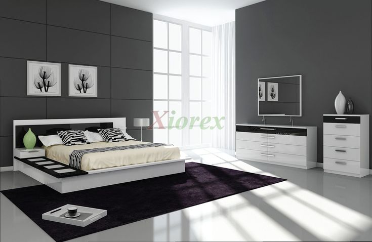 Draco Black and White Contemporary Bedroom Furniture Sets | Xiorex  Draco contemporary bedroom furniture sets are black and white platform bed sets. Each set comes with an attached nightstand to the bed, dresser and mirror, chest, and the platform bed itself.