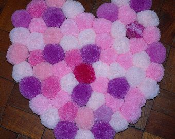 POM POM Teppich, Rosa Teppich, Teppich, Kinderzimmer, Kinderzimmer Teppich  In Herzform